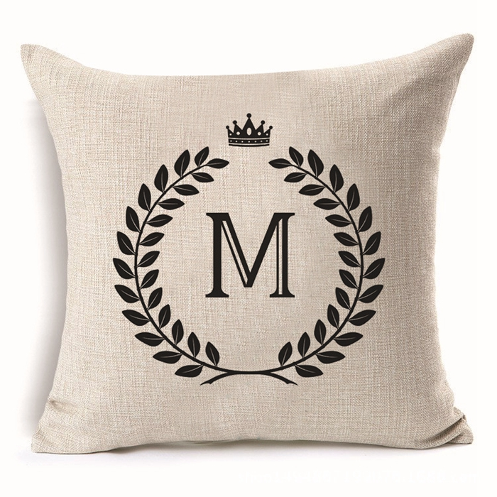 Personalized Lumbar Waist Cushion Cases Custom Black Initial Throw Pillow Covers