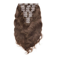 Premium Quality Color #4 Body Wave Remy Indian Clip In Hair Extensions