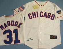 Chicago Cubs #31 Greg Maddux, Men's Sewn White Cooperstown Jersey