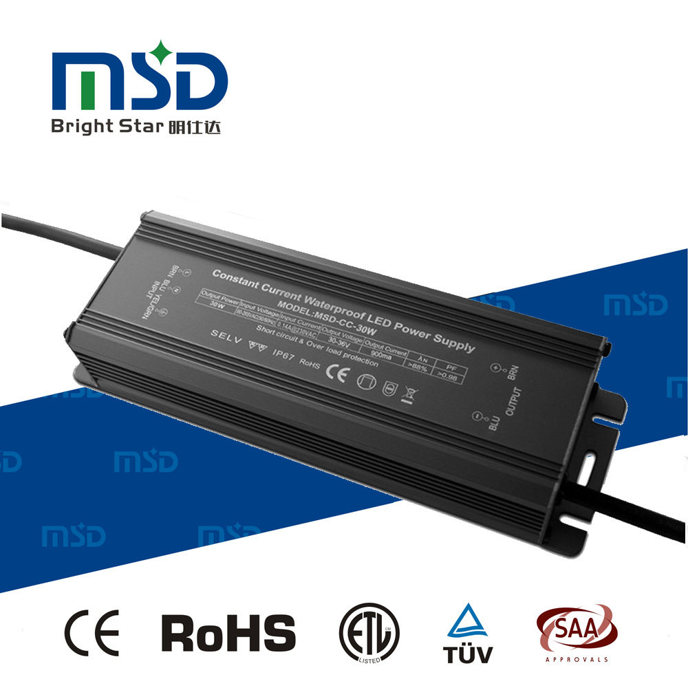 700mA 900mA 1050mA 1200mA 1500mA 1800mA 2000mA Waterproof Constant Current IP67 LED Driver 30W