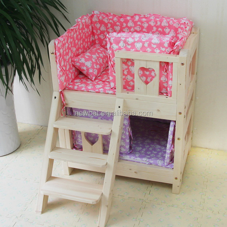 Premium quality fashion design two layers wooden dog bed heavy timber dog kennel wooden house