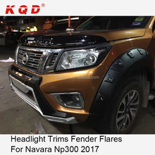 KQD car accessories ABS matte black headlight trims front lamp cover head light cover for navara np300 2017