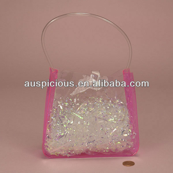 Pink side gusset stand up vinyl pvc pouch with button