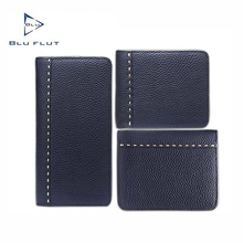 Genuine leather long wallet with zipper for men