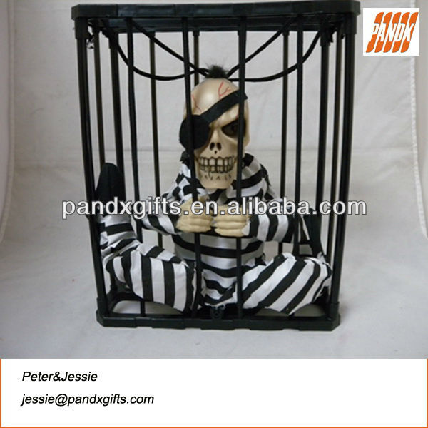 Talking pirate in cage with light eyes want to running away