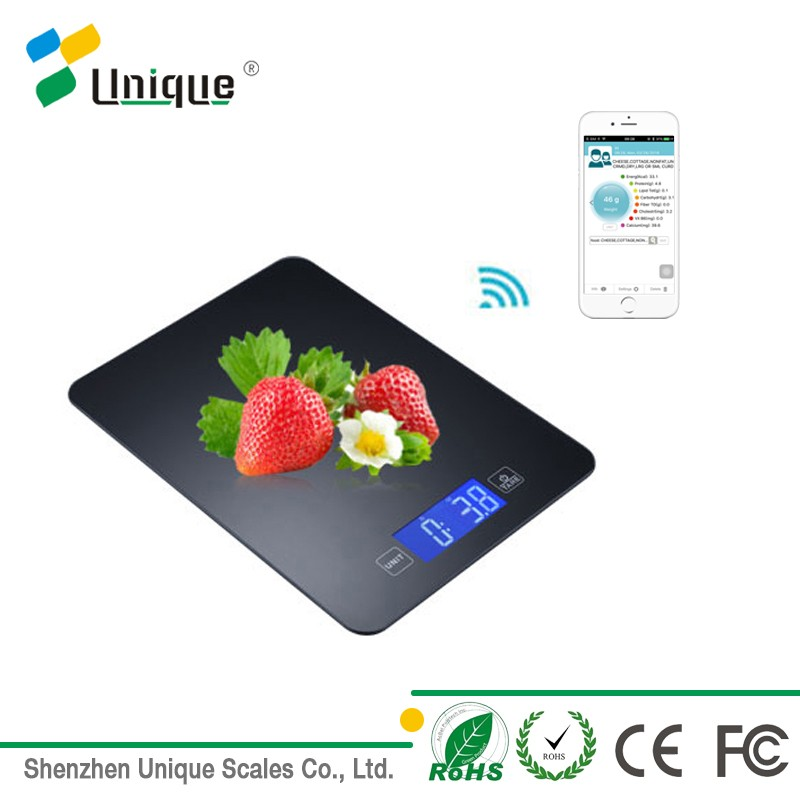 Glass electronic bluetooth 5kg food kitchen fruit scale with grams unit
