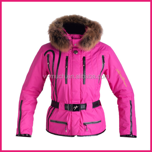 Newest xxl womens ski jacket with fur hood