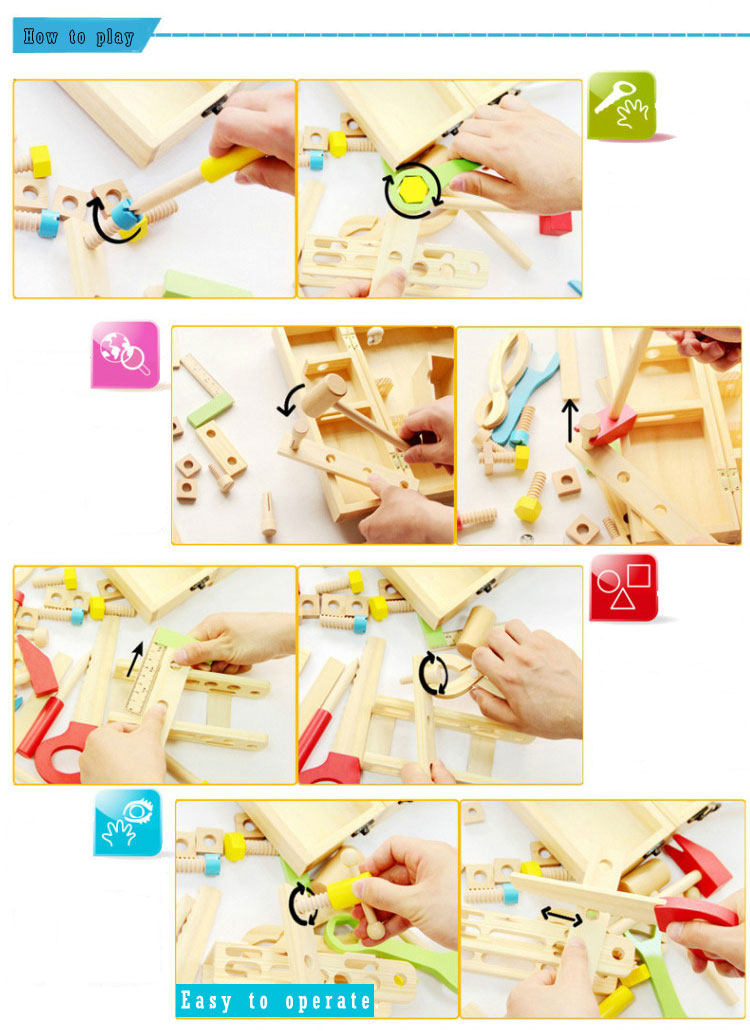 Mini Tool Set Box Toy Workshop Tool Toy for Kids Montessori Material Play Tool Toy Wood Game Pieces