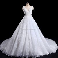Top Quality Customized Ball Gown Lace wedding dress Italy Fashion