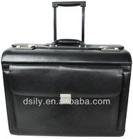 black designer split leather wheeled pilot case