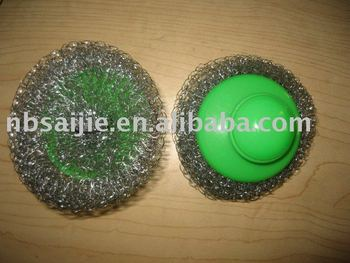 kitchen scourer with handle,mesh scourer, scourer pad,dish scourer