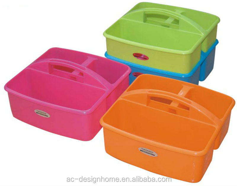 FUCHSIA, TURQUOISE, LIME GREEN, ORANGE SQUARE PP PLASTIC CADDY WITH HANDLE