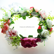Handmade flower crown wreath headband crown halo floral hair garland headpiece with ribbon festival wedding party