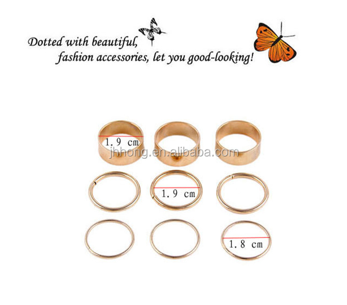 2015 New fashion jewelry gold finger ring set midi ring set