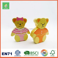 New products wooden bear brick dolls for kids
