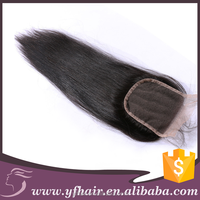 Natural color hotsale virgin straight human hair with closure 4*4 free middle parting silk lace closure