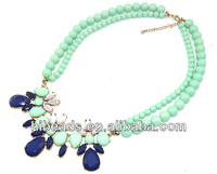 2013 New Bead Chokers Necklace Chain Flower Pendant Statement Necklace Fashion Jewelry DN015