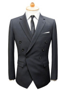 Handmade Custom Men's Slim Fit Double Brested Black wedding dress Tuxedo suit