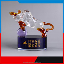 Erotic crystal glass bull model figurine with stand