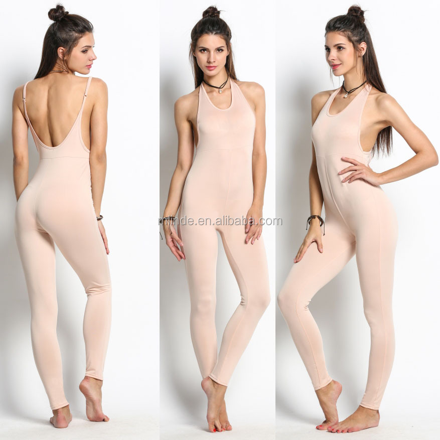 Pink White Black Sexy Ladies Adult Gym Casual Clubwear Low Cut V-Neck Sleeveless Backless Slim Skinny Tight Long Women Jumpsuit