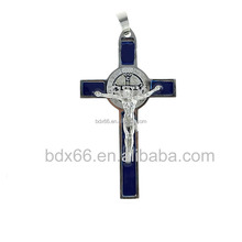 Most Popular Catholic Jewelry Items Stainless Steel Christians Saint St Benedict Medal Crucifix Blue Enamel Cross Pendant