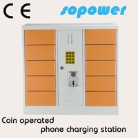 coin operated charging station hot-selling 10 door coin operated portable usb charger