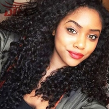 2016 Long Bouncy Curly Wig Peruvian Virgin Hair Kinky Curly Afro Lacefront Wigs 8A Peruvian Real Human Hair Weave Deep Curly Cap