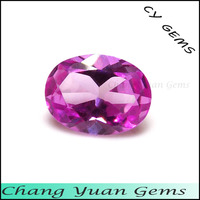 Oval shape 2# pink color synthetic ruby gemstone