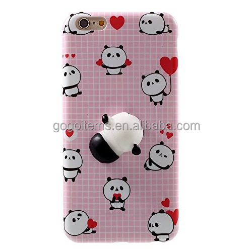 TPU lovely 3D cat 5 inch mobile plastic 3d silicone squishy phone case soft cover for iphone 6