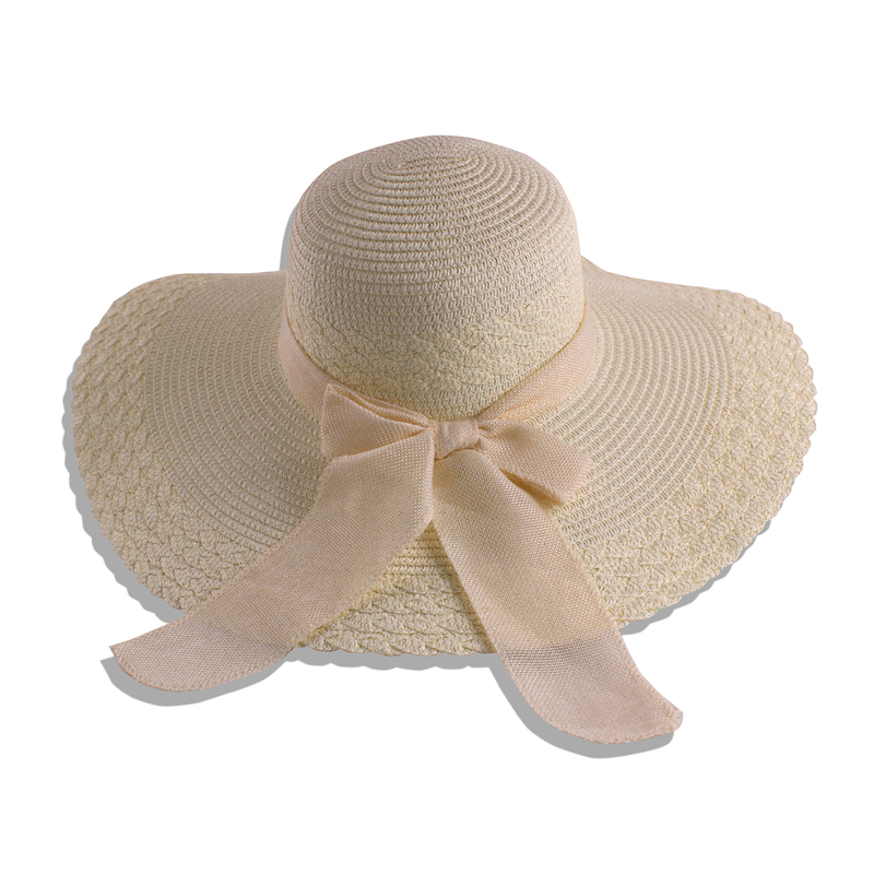Wholesale custom lady paper boater floppy straw hat summer beach women sun hats