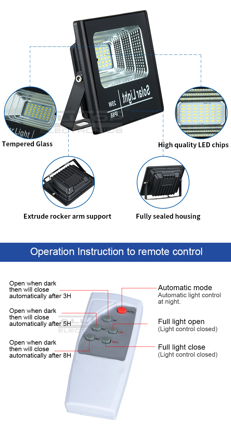 ALLTOP High quality outdoor lighting waterproof smd ip66 25w 40w 60w 100w solar led flood light