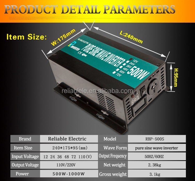 500W 12V DC to 220V AC Single Phase Pure Sine Wave Inverter with LED Display