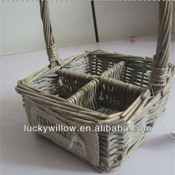 Wholesale Divided Wicker Wine Holder Basket Buy Wicker Wine Holder Basket Wicker Basket Wicker