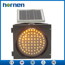 300mm Road Safety Traffic Light , Solar Powered LED Yellow Blinking Hazard Warning Light