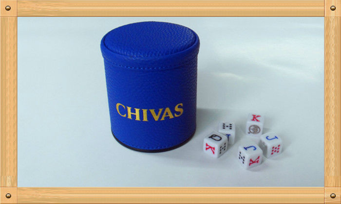 personalized embossed leather dice shaker cup