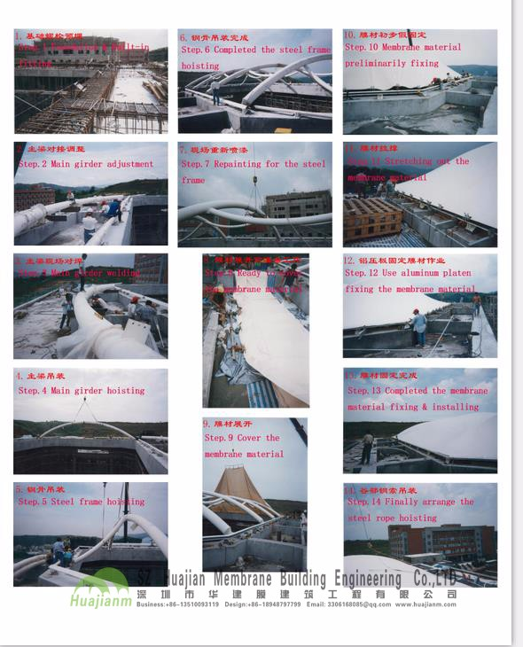 2016 new design tensile membrane structure for Roof canopy PTFE