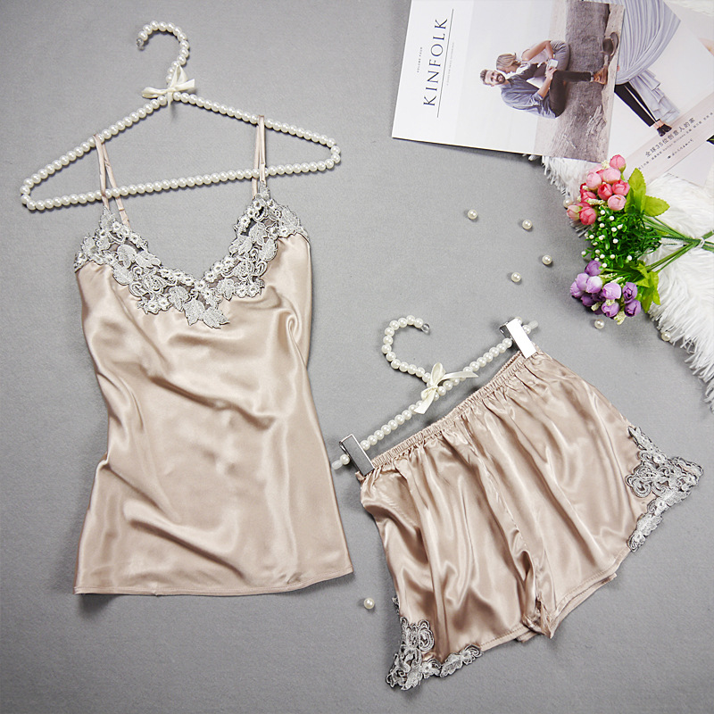 2PCS Lace silk embroidery adult pajamas rompers nighty for honeymoon image