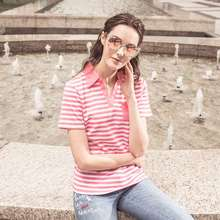 Ladies' Blouses & Tops manufacturers Unique Women's pure color 100% Cotton crew neck Feeder Stripe made in taiwan Polo Shirt