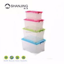 Pink Lid with lock, Different size plastic storage box container for household