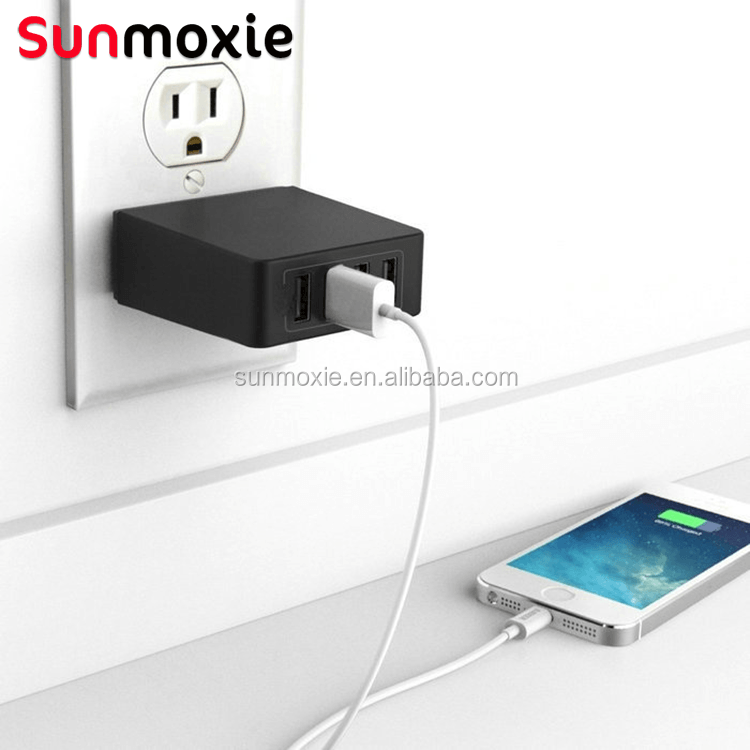 4 port usb charger with US plug cell phone wall charger adaptor