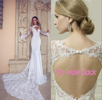 Sexy New Long Cathedral Train High Neck Illusion Long Sleeve Key Hole Back Mermaid Chiffon Lace Beach Wedding Dress Bridal Gown