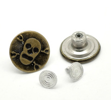 Antique Bronze Halloween Skull Pattern Jean Tack Metal Snap Button For Jeans