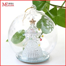 2016 christmas glass open ball with color changing light