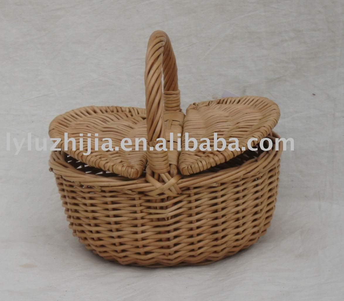 pc picnic basket with two lids and handle