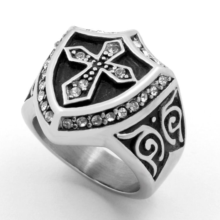 European and American creative stainless steel jewelry, diamond ring, cross tide male fashion punk rings YSS724