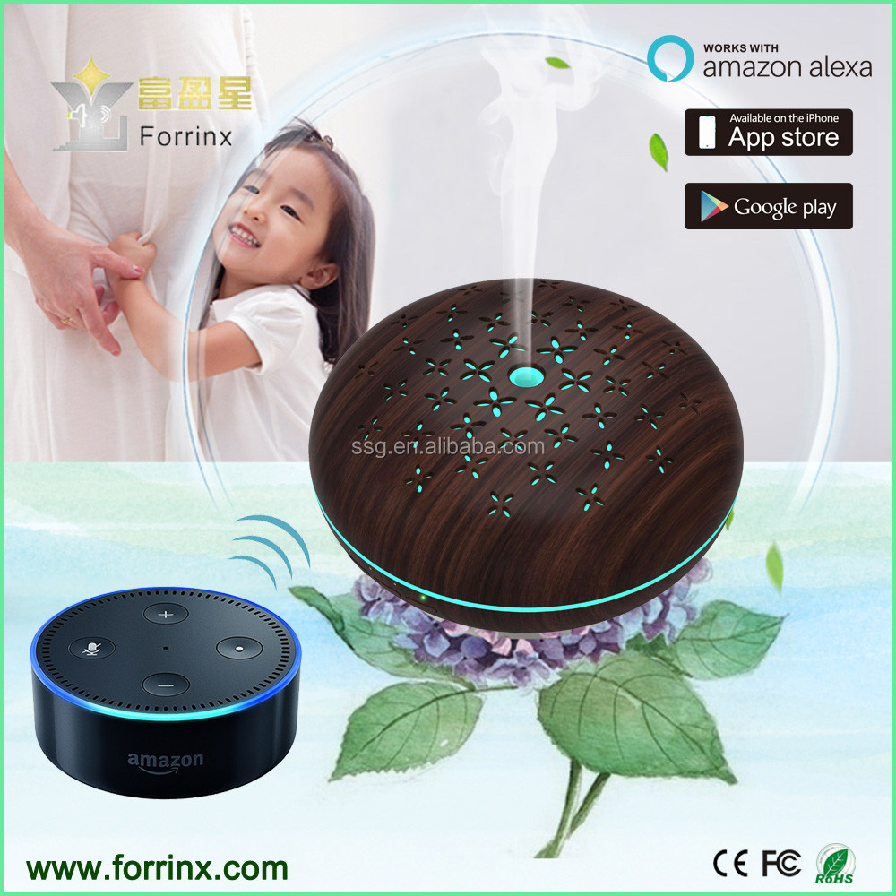 Amazon Alexa Enabled Forrinx SJ-07 WiFi Smart Phone App Remoe Control 450mL Wooden Printing Ultrasonic Aroma Diffuser
