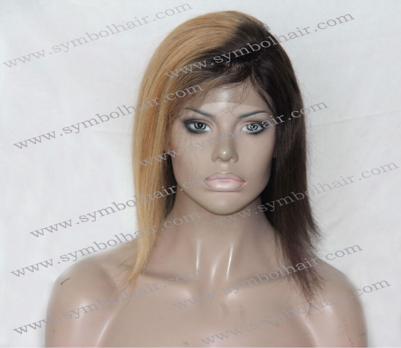 10inch T1B-27# straight front lace wig