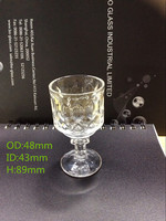 Fancy shaped 50ml custom print shot glass /drinking glass for promotin gift/glassware