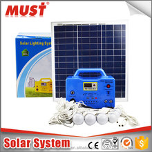factory wholesale indoor 10W 20W 30W small solar home lighting system with LED lights