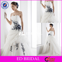 XL415 lace applique picked up puffy skirt open back royal blue and white wedding dresses